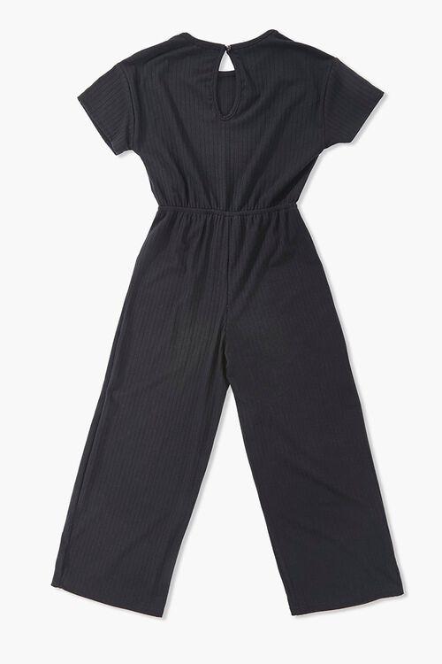 Girls Ribbed Self-Tie Jumpsuit (Kids), image 2