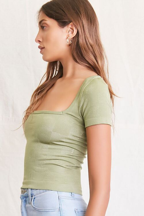 LIGHT OLIVE Seamless Checkered Top, image 2