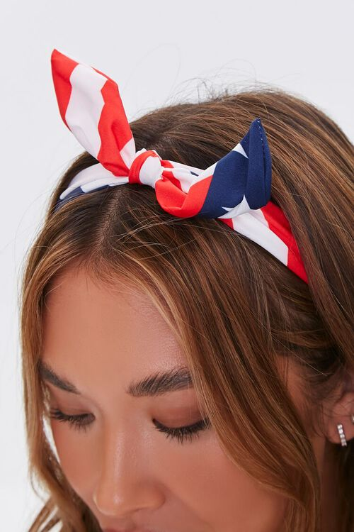 American Flag Knotted Bow Headband, image 2