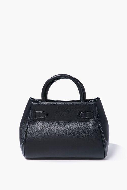 BLACK Faux Leather Pouch Satchel, image 3