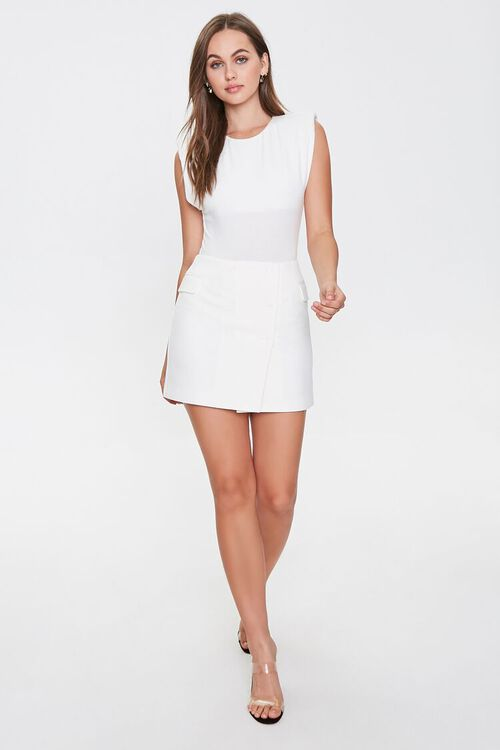 WHITE Double-Breasted Mini Skirt, image 4
