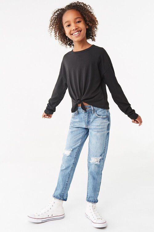 Girls Ribbed Knotted Top (Kids), image 4