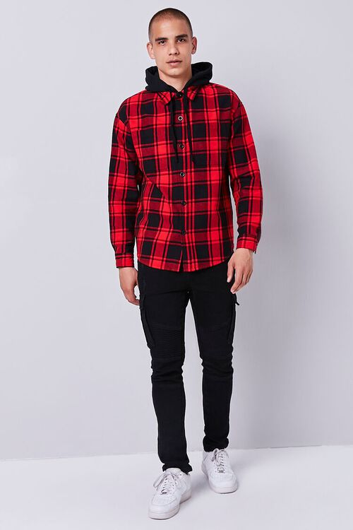 Plaid Buttoned Flannel Hoodie, image 4