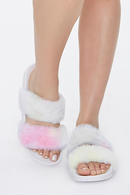 Faux Fur Rainbow Wash Slippers, image 4
