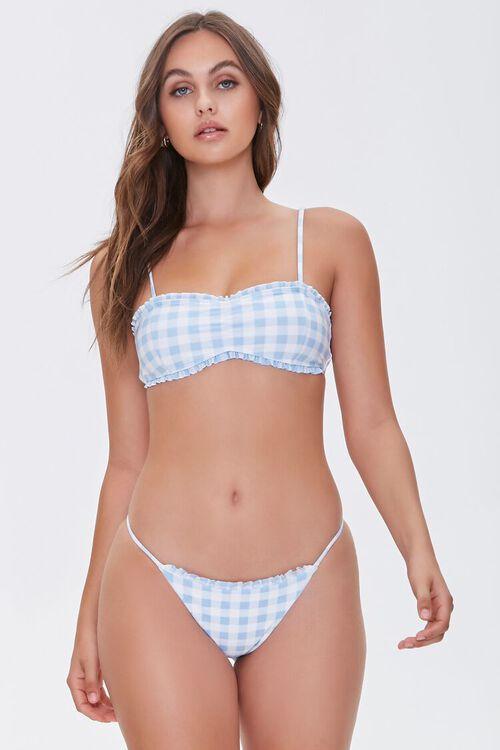Gingham String Bikini Bottoms, image 1