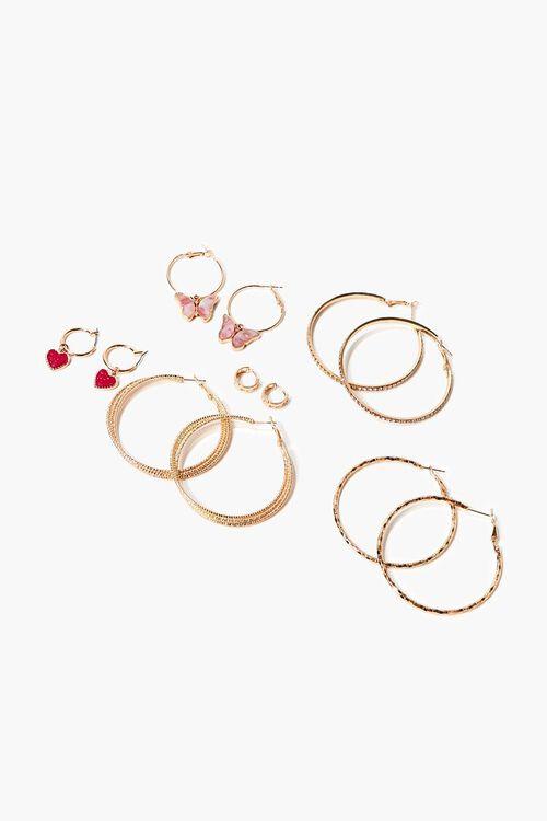 GOLD/MULTI Butterfly & Heart Charm Hoop Earring Set, image 1