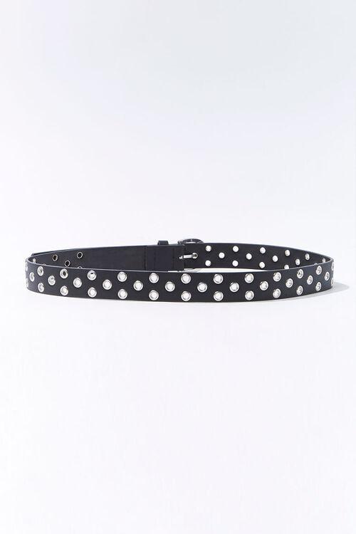 BLACK Faux Leather Grommet Belt, image 2