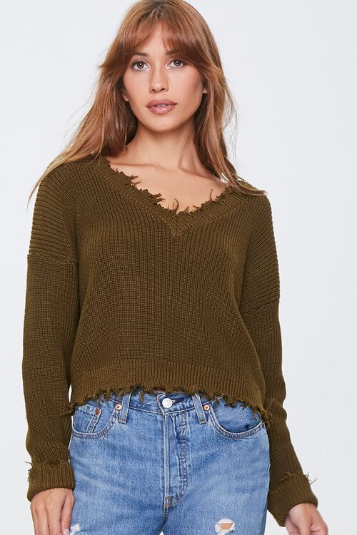 Ribbed Distressed-Trim Sweater, image 1