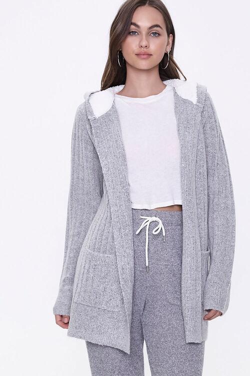 Hooded Ribbed Knit Cardigan, image 1