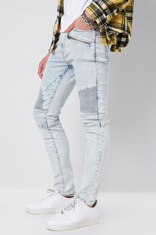 Skinny Zippered Moto Jeans, image 2