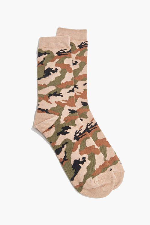 Men Camo Print Crew Socks, image 1