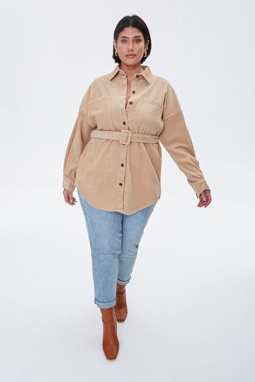Plus Size Corduroy Belted Shacket, image 4
