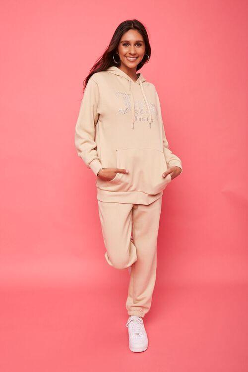 TAN/MULTI Juicy Couture Rhinestone Fleece Hoodie, image 4
