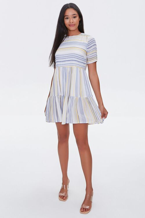 Striped Flounce-Hem Mini Dress, image 4