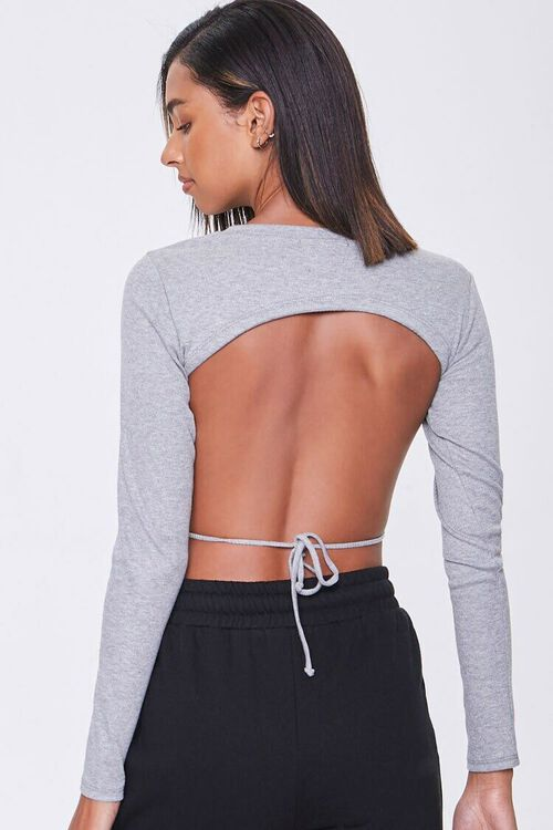 Ribbed Open-Back Crop Top, image 3