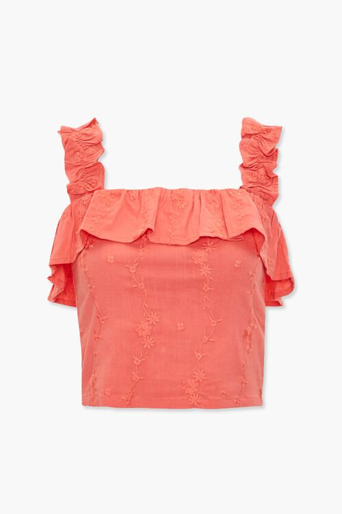 Embroidered Flounce Crop Top, image 1
