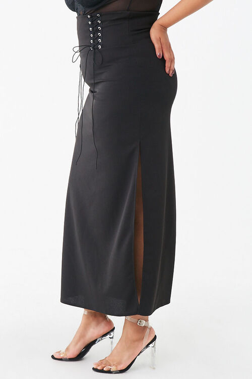 Plus Size Lace-Up Maxi Skirt, image 3