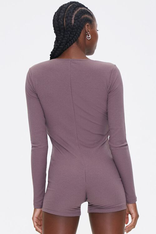 Ribbed Knit Long-Sleeve Romper, image 3