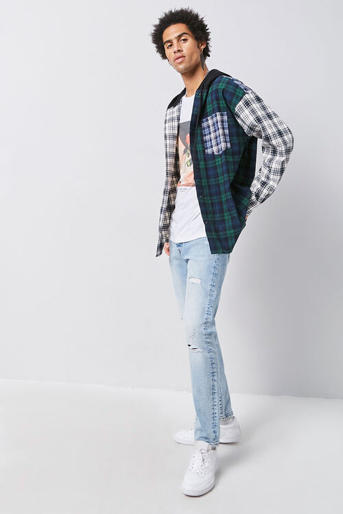 Plaid Patternblock Hooded Shirt, image 4