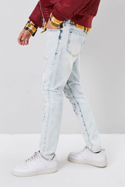 Bleached Distressed-Panel Skinny Jeans, image 2