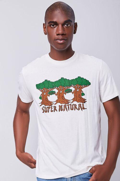 CREAM/BROWN Organically Grown Cotton Tree Graphic Tee, image 1