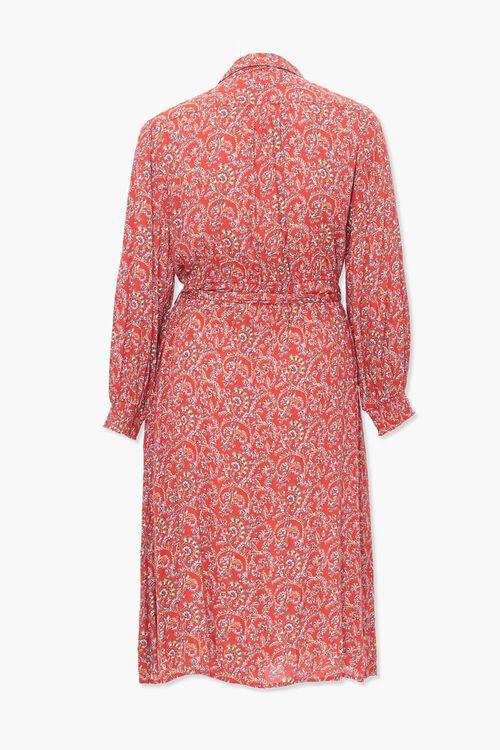 Plus Size Paisley Print Shirt Dress, image 3