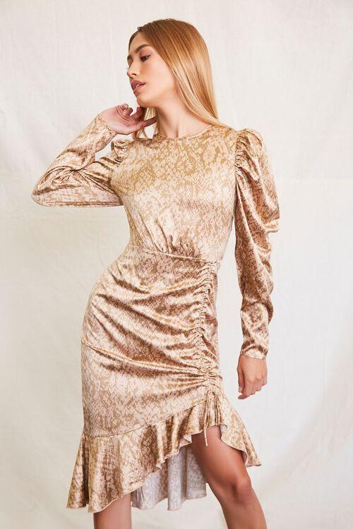 TAUPE/BROWN Satin Snake Print Dress, image 1