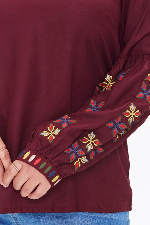 Plus Size Embroidered Peasant Top, image 5