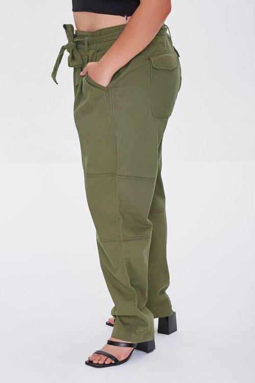 Plus Size Sash-Belt Cargo Pants, image 3