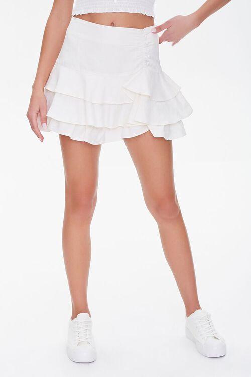 Ruffled Linen-Blend Mini Skirt, image 2