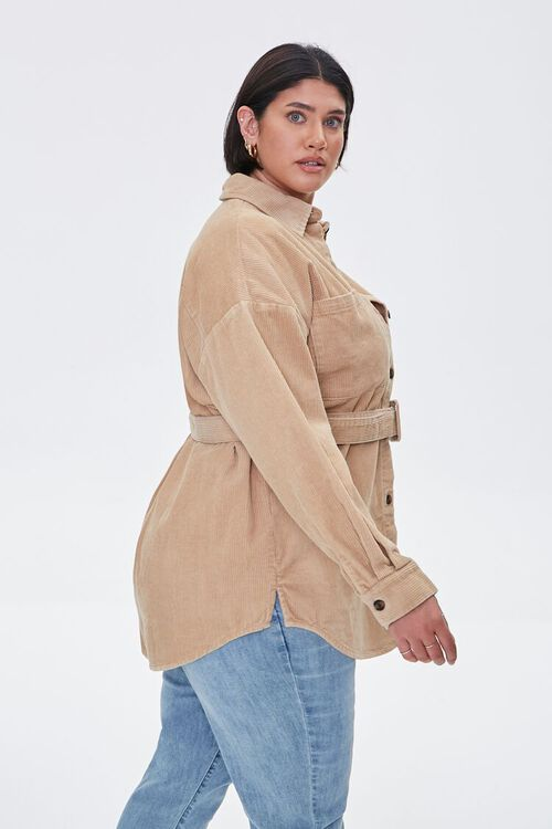 Plus Size Corduroy Belted Shacket, image 2