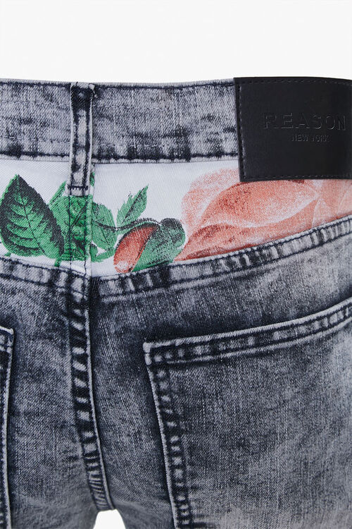 Reason Leaf-Print Yoke Moto Jeans, image 4