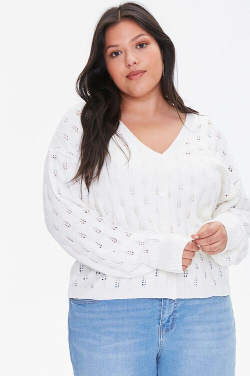 Plus Size Open-Knit Cardigan Sweater, image 1
