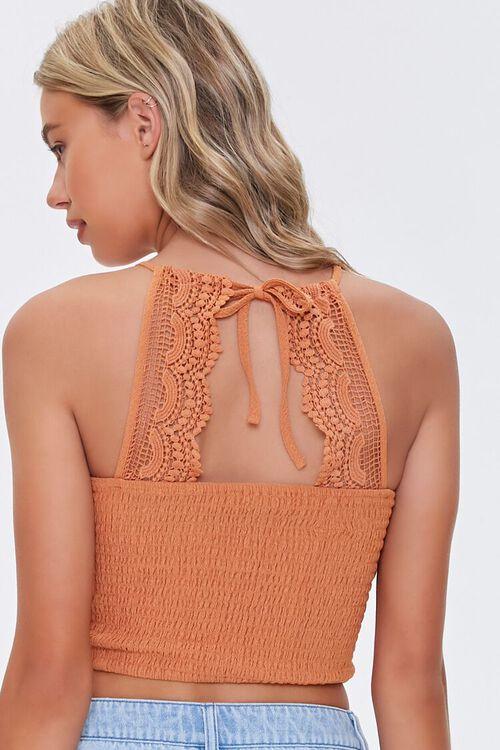 Smocked Lace-Trim Crop Top, image 3