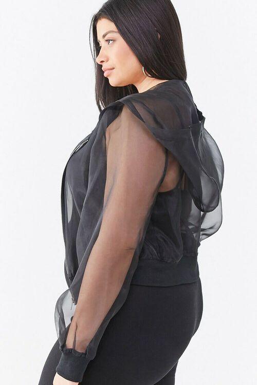 BLACK Plus Size Organza Zip-Up Hoodie, image 2