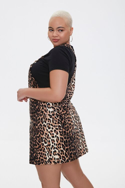 BROWN/BLACK Plus Size Leopard Print Overall Dress, image 2