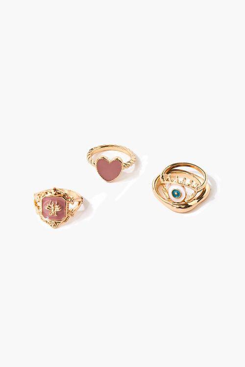GOLD/MULTI Eye Charm Ring Set, image 1