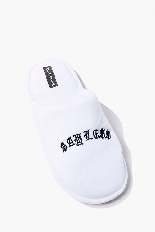 Men Say Less Embroidered Graphic Slippers, image 1
