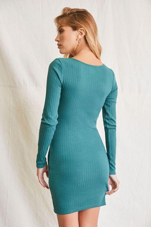 HUNTER GREEN Ribbed Bodycon Mini Dress, image 3