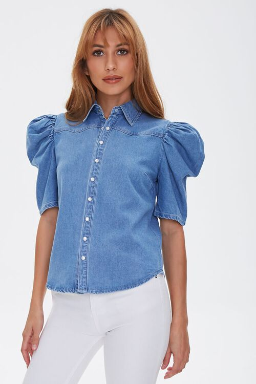 Puff-Sleeve Denim Shirt, image 1