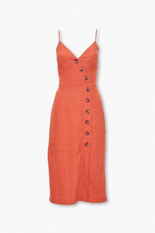 Linen-Blend Surplice Cami Dress, image 1