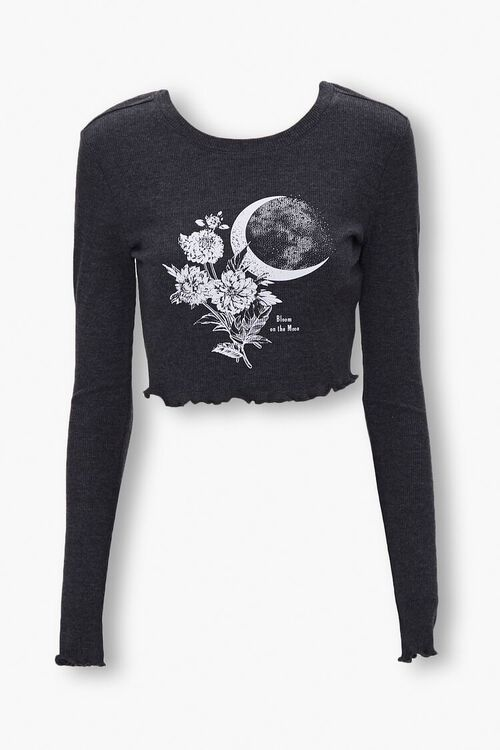 CHARCOAL/WHITE Moon Graphic Crop Top, image 1