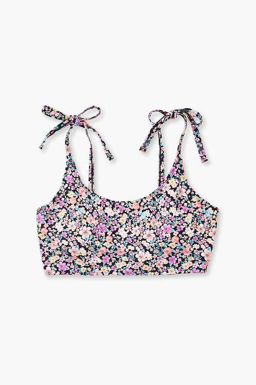 Plus Size Floral Print Self-Tie Bikini Top, image 4