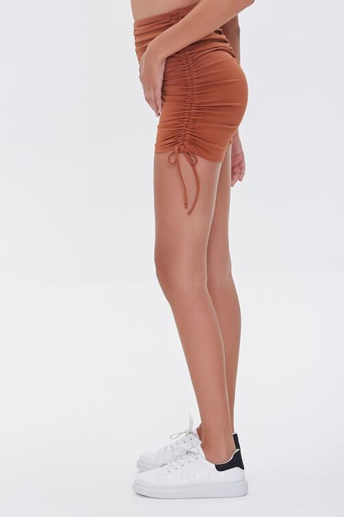 CHOCOLATE Ruched Lace-Up Shorts, image 3
