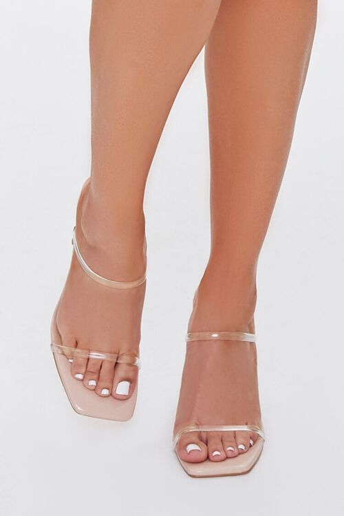 NUDE/CLEAR Faux Leather Stiletto Heels, image 4
