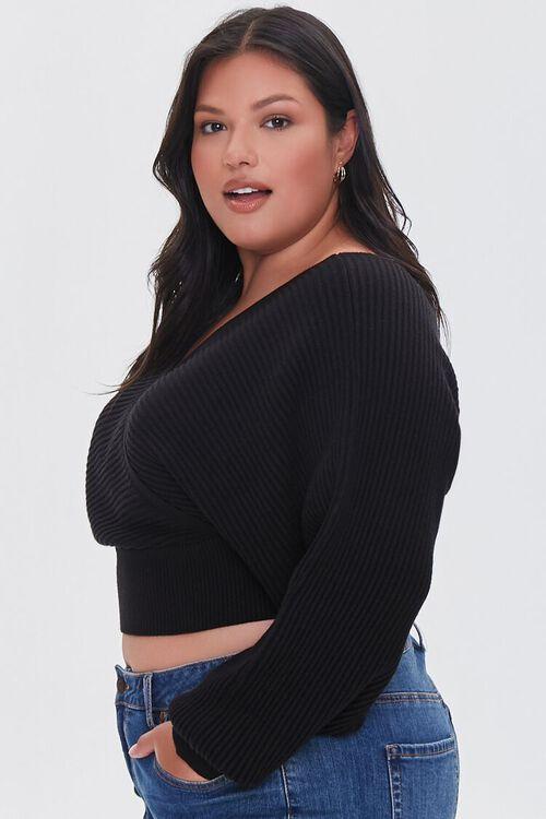 Plus Size Ribbed Surplice Sweater, image 2
