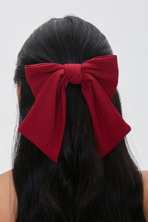Ribbed Bow Barrette, image 1
