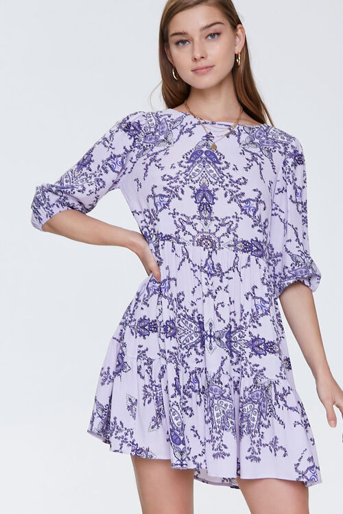 Ornate Floral Print Swing Dress, image 1