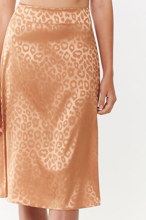 Satin Leopard Print Skirt, image 5