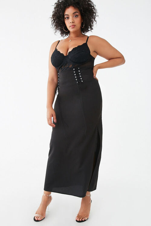Plus Size Lace-Up Maxi Skirt, image 1